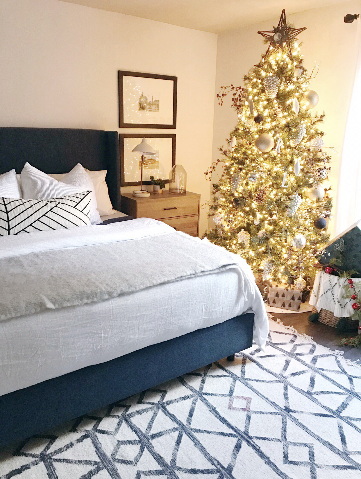Christmas tree in master bedroom