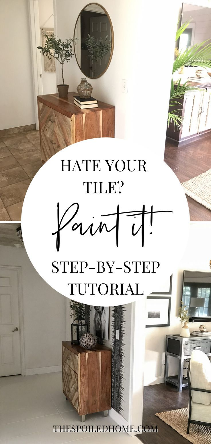 Entryway makeover painted tile