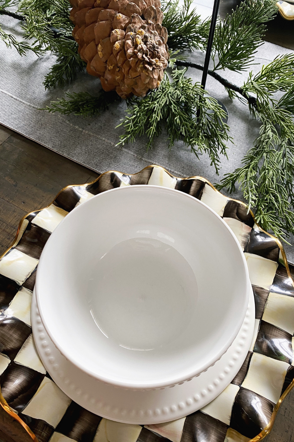 Mackenzie Childs Courtly Check Fluted Dinnerware