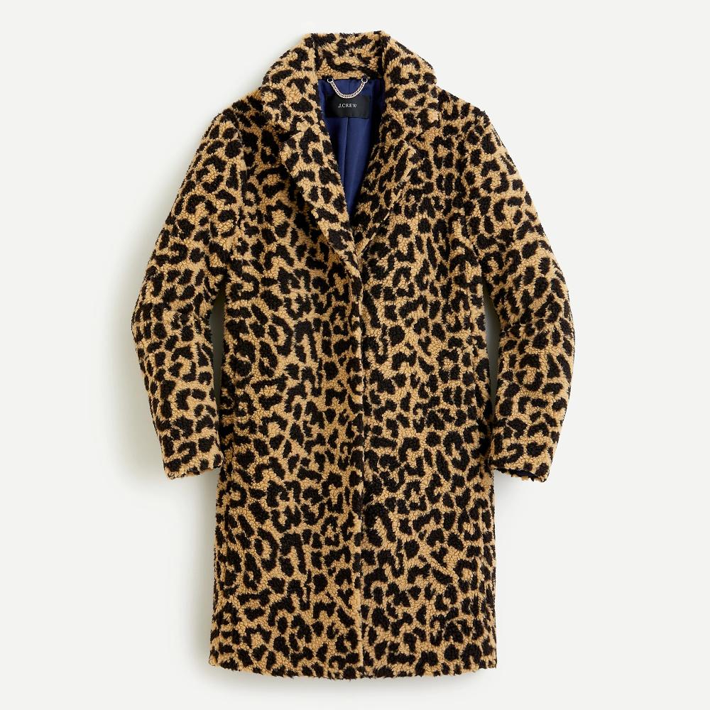 J  Crew - Teddy Sherpa Coat in Leopard