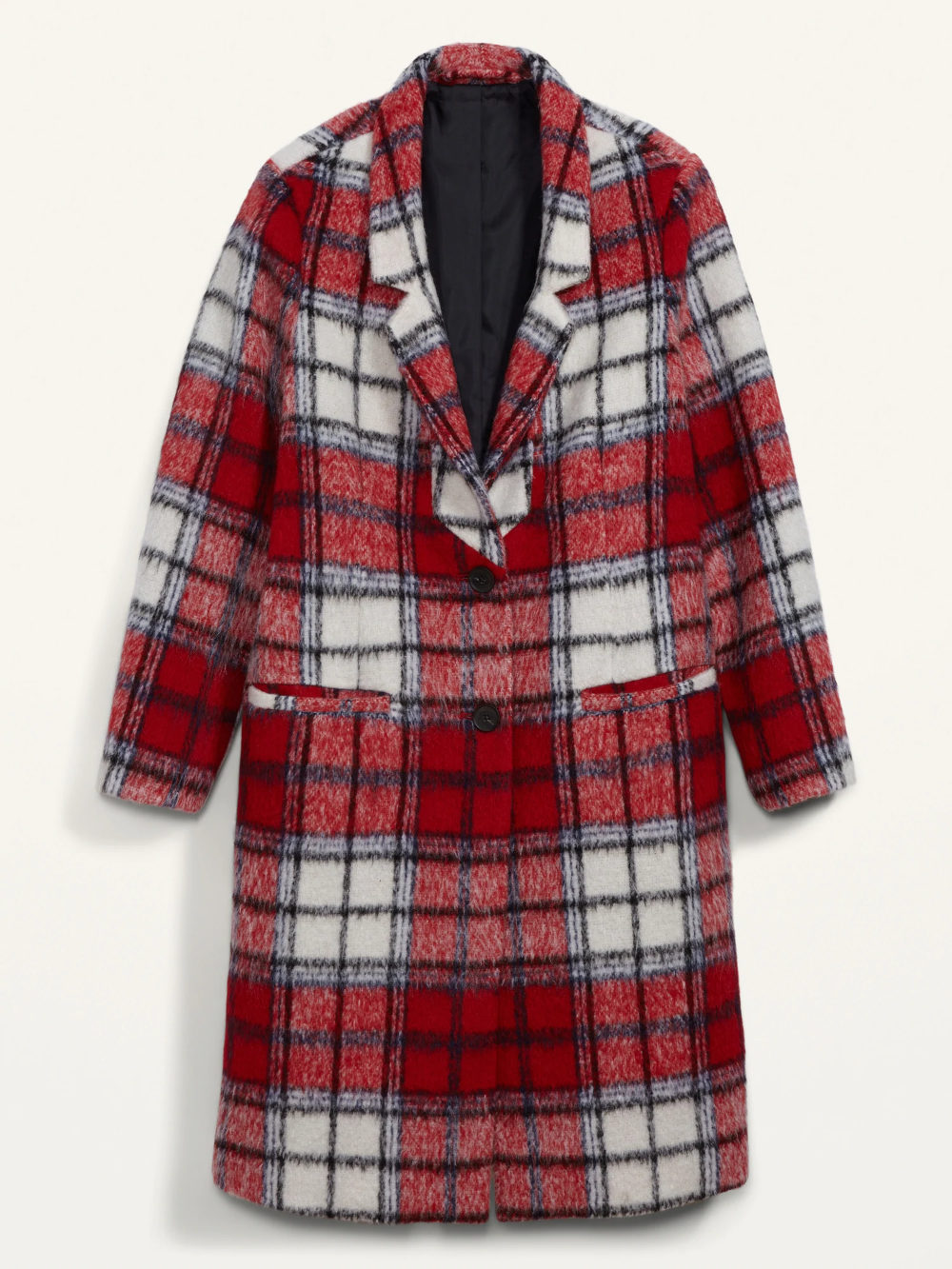 Old Navy - Oversized Soft-Brushed Plaid Overcoat for Women